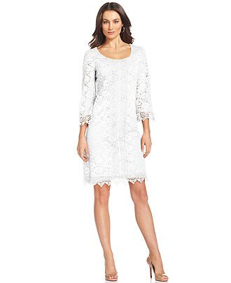 Alfani Dress Three Quarter Sleeve Lace Sheath Womens Dresses