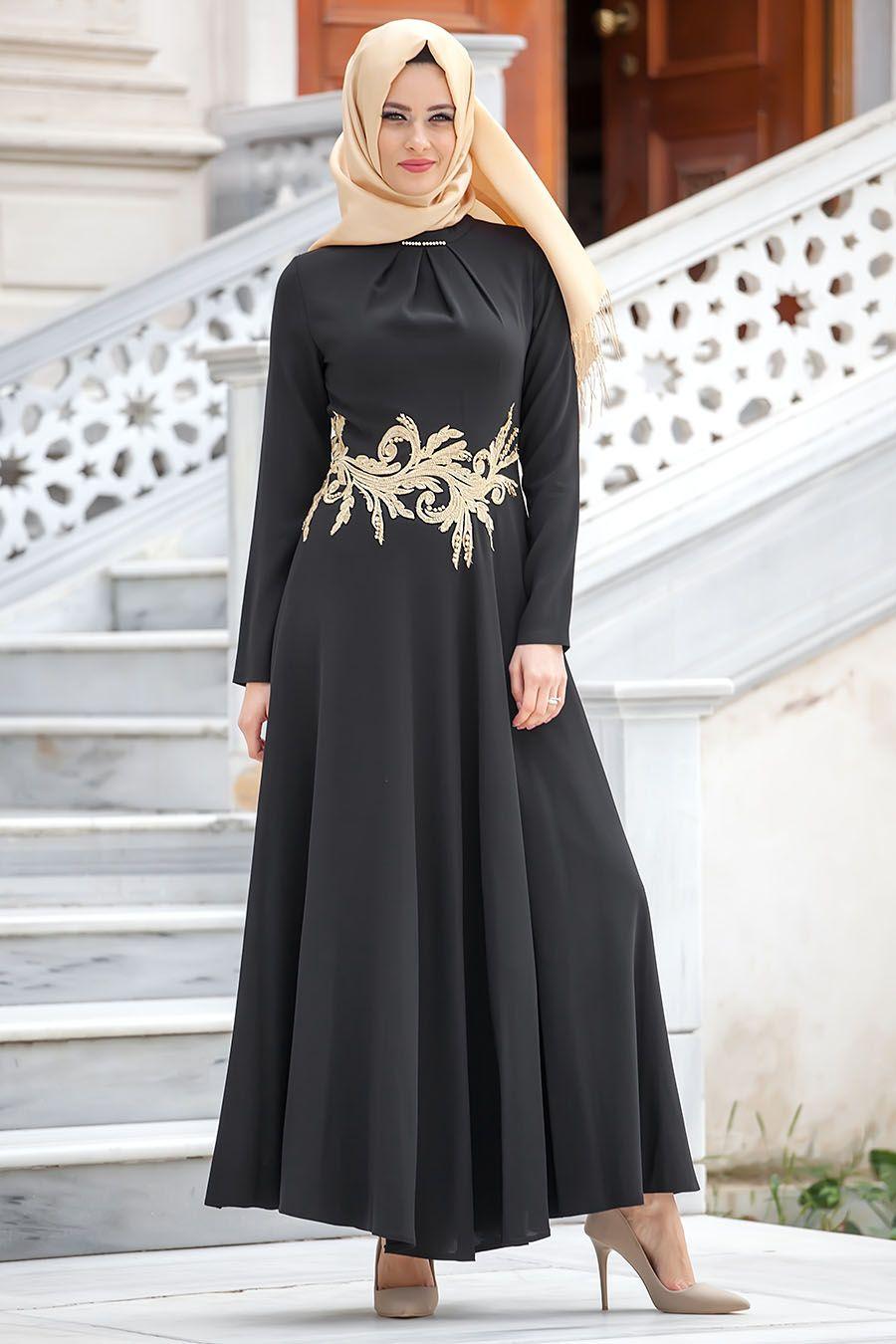Puane Siyah Elbise Tesetturisland Com Musluman Elbisesi The Dress Ve Islami Moda