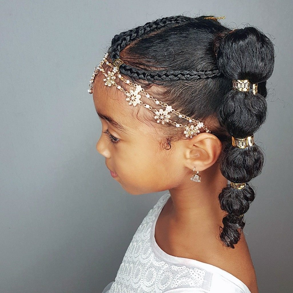 Bubble ponytails hairstyles for curly little girls
