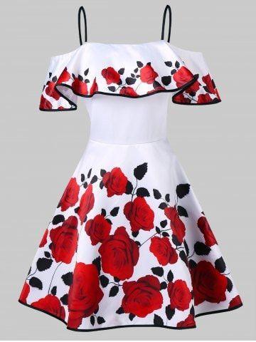 Vintage Rose Print Fit And Flare Dress - Fashion Dresses