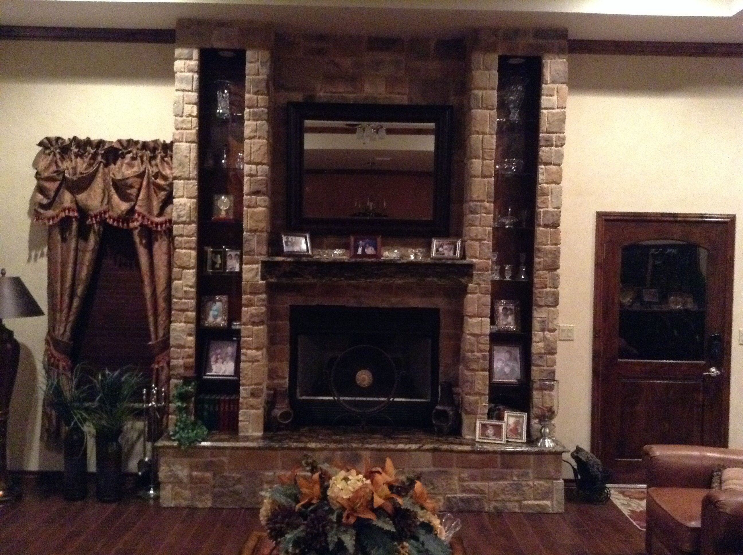 Fireplace With Stone And Glass Shelves Granite Hearth And Mantel