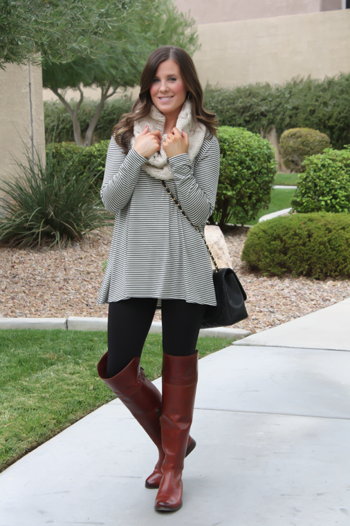 Striped Swing Tunic, Black Seamless Leggings, Brown Over the Knee ...