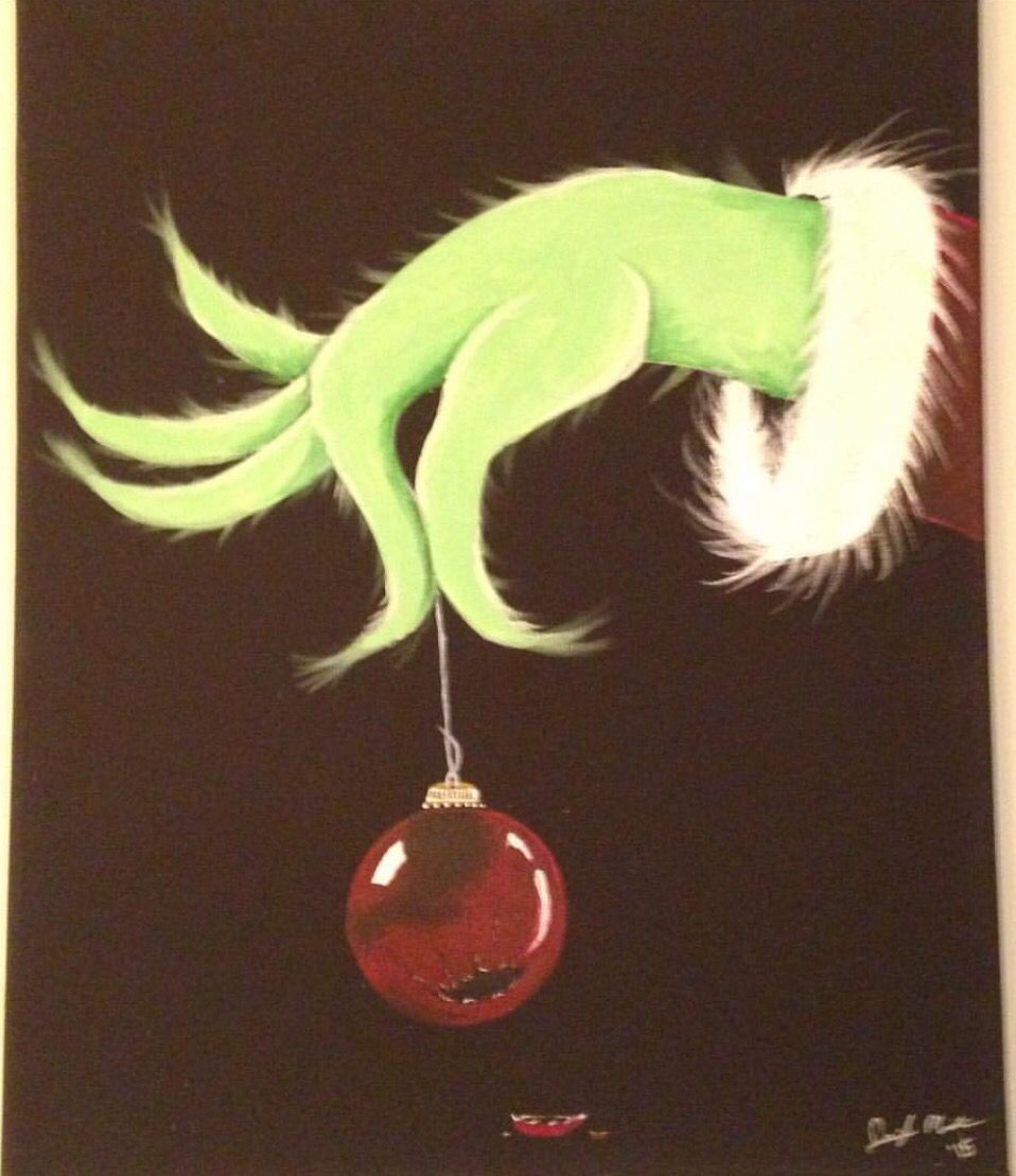 Grinch Hand With Broken Ornament Acrylic Painting By Me Grinch Christmas Decorations Ornament Drawing Stained Glass Christmas
