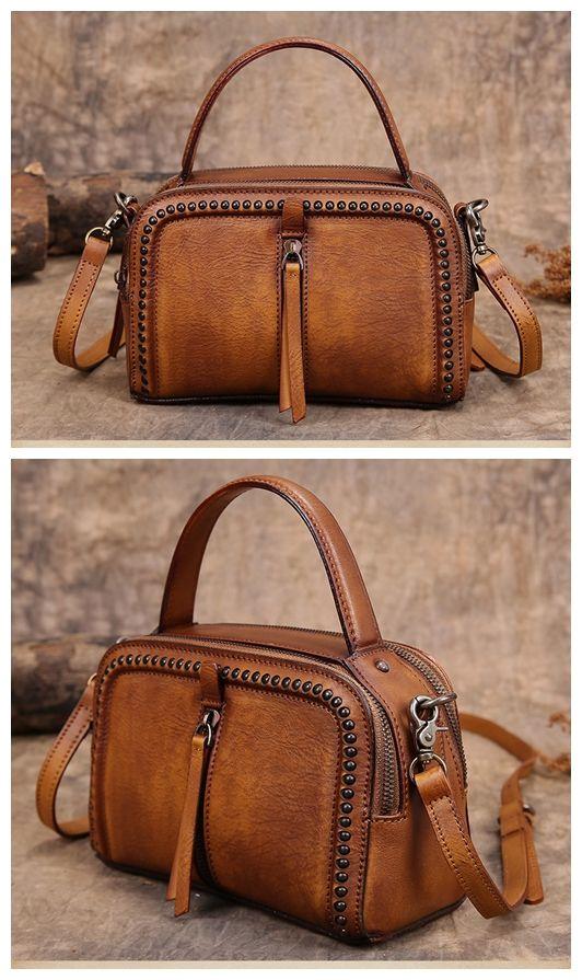 15d02917ee Handmade Leather Messenger Bag Handbag Shoulder Bag Small Satchel Women s  Fashion Bag Leather Cross Body Bag YS03 Overview: Design  Vintage Vegetable  ...