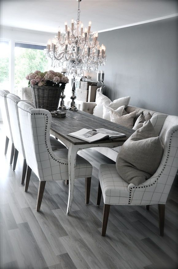 Grey Rustic Dining Table With Beautiful Fabric Chairs The Combination Is Modern And Elegant Luxury Dining Room Dining Room Furniture Grey Dining Tables