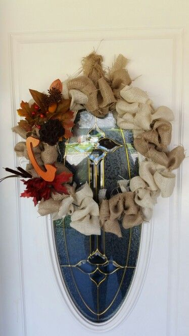 Pretty stoked on how good my first burlap wreath came out!