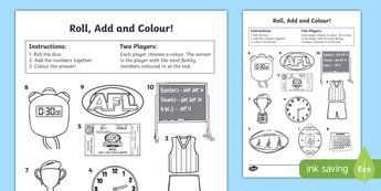 Afl Australian Football League Roll And Colour Activity Sheet