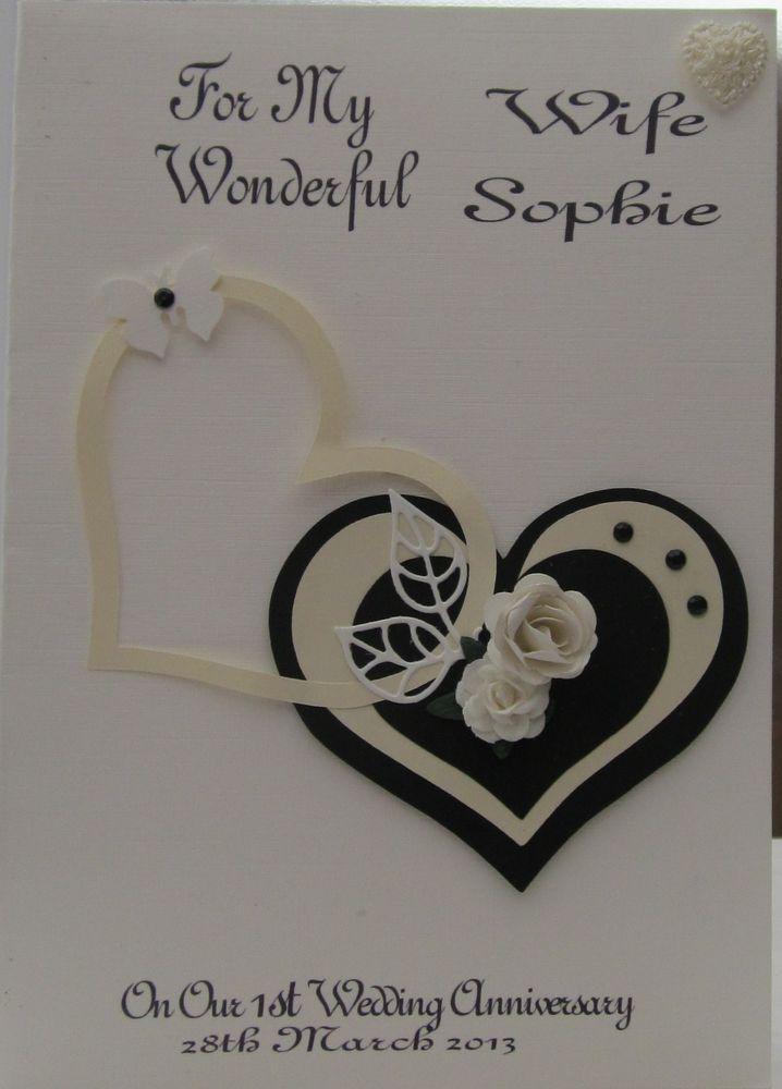 Personalised Wedding Anniversary Card Wife Husband 1st 2nd 3rd 4th 5th 10th 15th In Craf Wedding Anniversary Cards Anniversary Cards Anniversary Cards Handmade