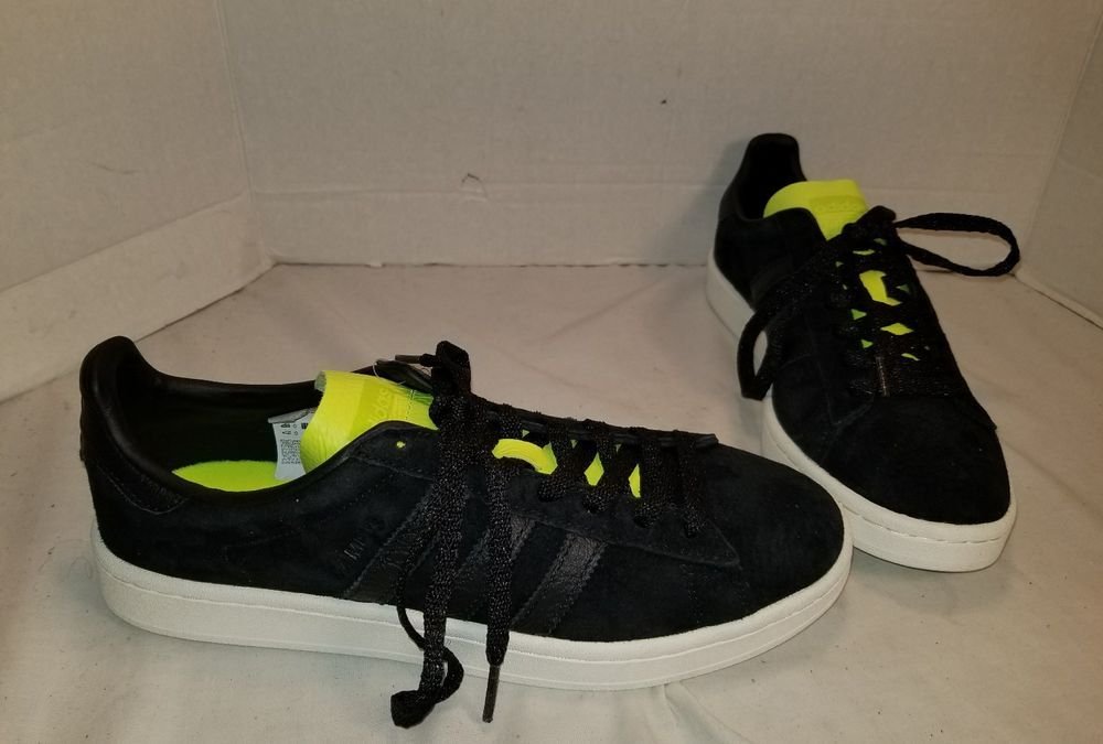 innovative design cbfeb 9eee9 NEW MEN S ADIDAS CAMPUS BLACK SUEDE WITH NEON SNEAKERS SHOE SIZE US 9 EUR  42.66