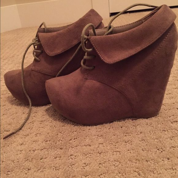 Charolette Russe Dark Tan Booties These dark tan lace up booties are perfect for a night out on the town and are brand new! Never worn! Charlotte Russe Shoes Ankle Boots & Booties