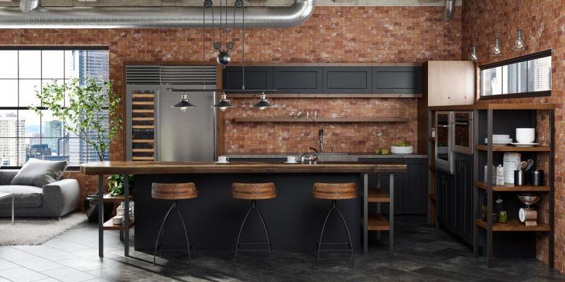 Rustic Industrial Style Silverton Door In Black Paint Industrial Kitchen Design Industrial Kitchen Kitchen Remodel
