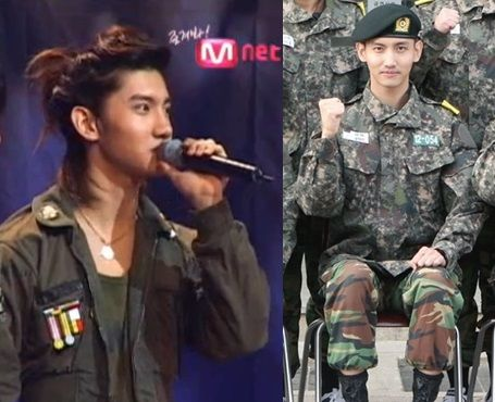 10 Korean Idol Military Looks On Stage Vs On Active Duty Military Looks Korean Idol Army Look