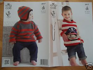 58022452f BOYS-PIRATE-SWEATER-HAT-KNITTING-PATTERN-FOR-14-26-KING-COLE-3917