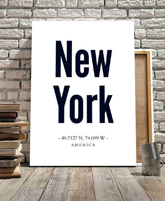 new york city coordinates affiche scandinave minmalist art affiche 70x100cm 50x70cm a4. Black Bedroom Furniture Sets. Home Design Ideas