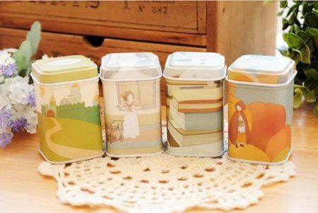 ONOR Tech Set of 4 Lovely Cartoon Square Tin Cans Tea Coffe Cookie