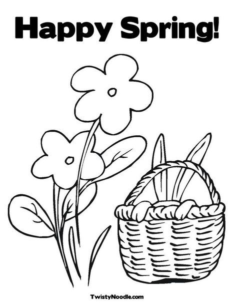 Happy Spring! Coloring Page from TwistyNoodle.com | Easter | Pinterest