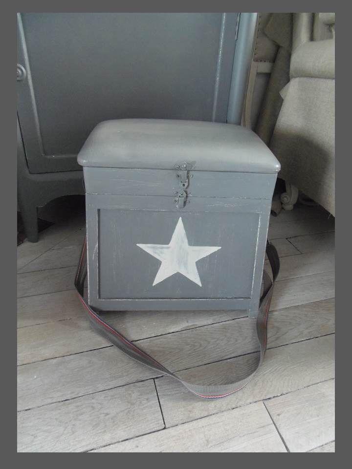tabouret de p cheur vintage patin zinc blanc poudr. Black Bedroom Furniture Sets. Home Design Ideas