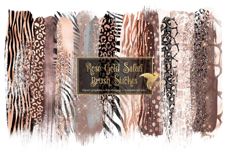 Rose Gold Safari Brush Strokes Clipart (478932) Patterns