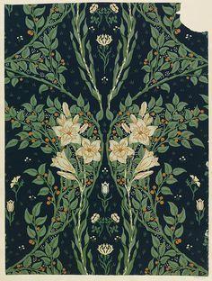 Francesca Wallpaper Place of origin: England, Great Britain (made) Date: 1902 (made) Artist/Maker: Crane, Walter (R.W.S.), born 1845 - died 1915 (designer) Jeffrey (manufacturer)