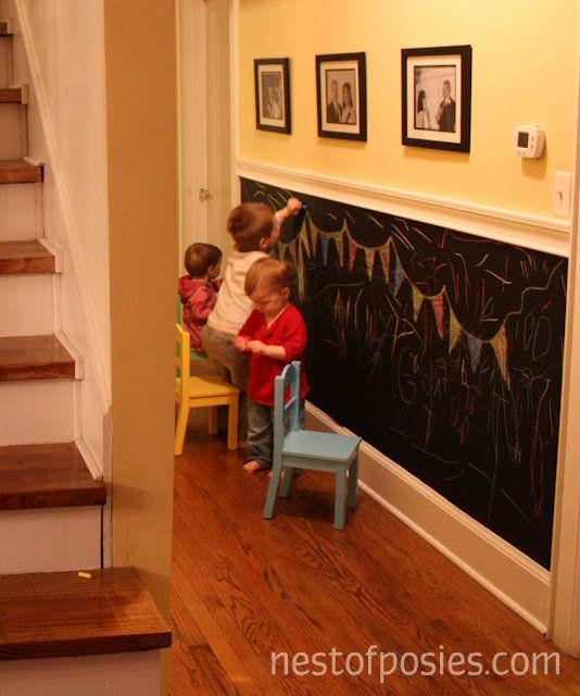 create a chalkboard wall down a hallway.