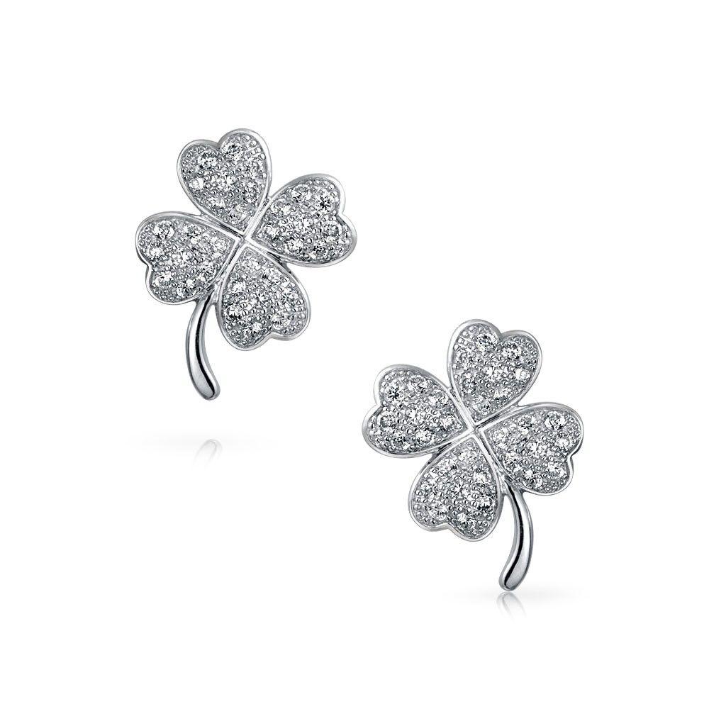 Cubic zirconia pave cz four leaf clover stud earrings