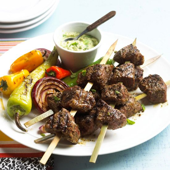 Creamy avocado sauce pairs perfectly with these Top Sirloin Kabobs. Recipe: www.bhg.com/recipe/beef/top-sirloin-kabobs-and-avocado-sauce/?socsrc=bhgpin070212
