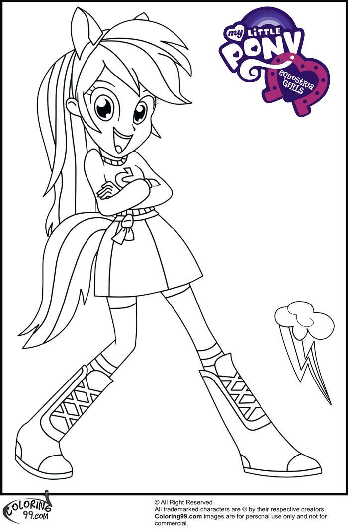 Let's Color Rainbow Dash Equestria Girl Mlp Printable Coloring Pages