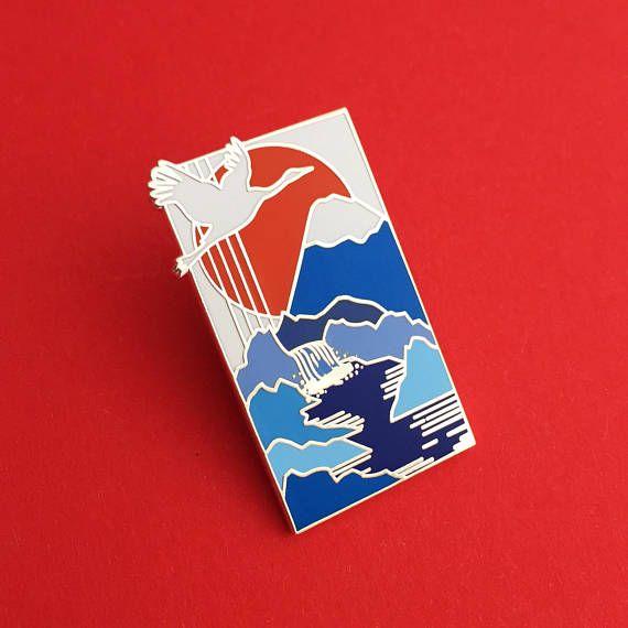 Crane Waterfall Japan Enamel Pin Badge Mount Fuji Japanese Etsy In 2021 Enamel Pin Badge Enamel Pins Pin Badges