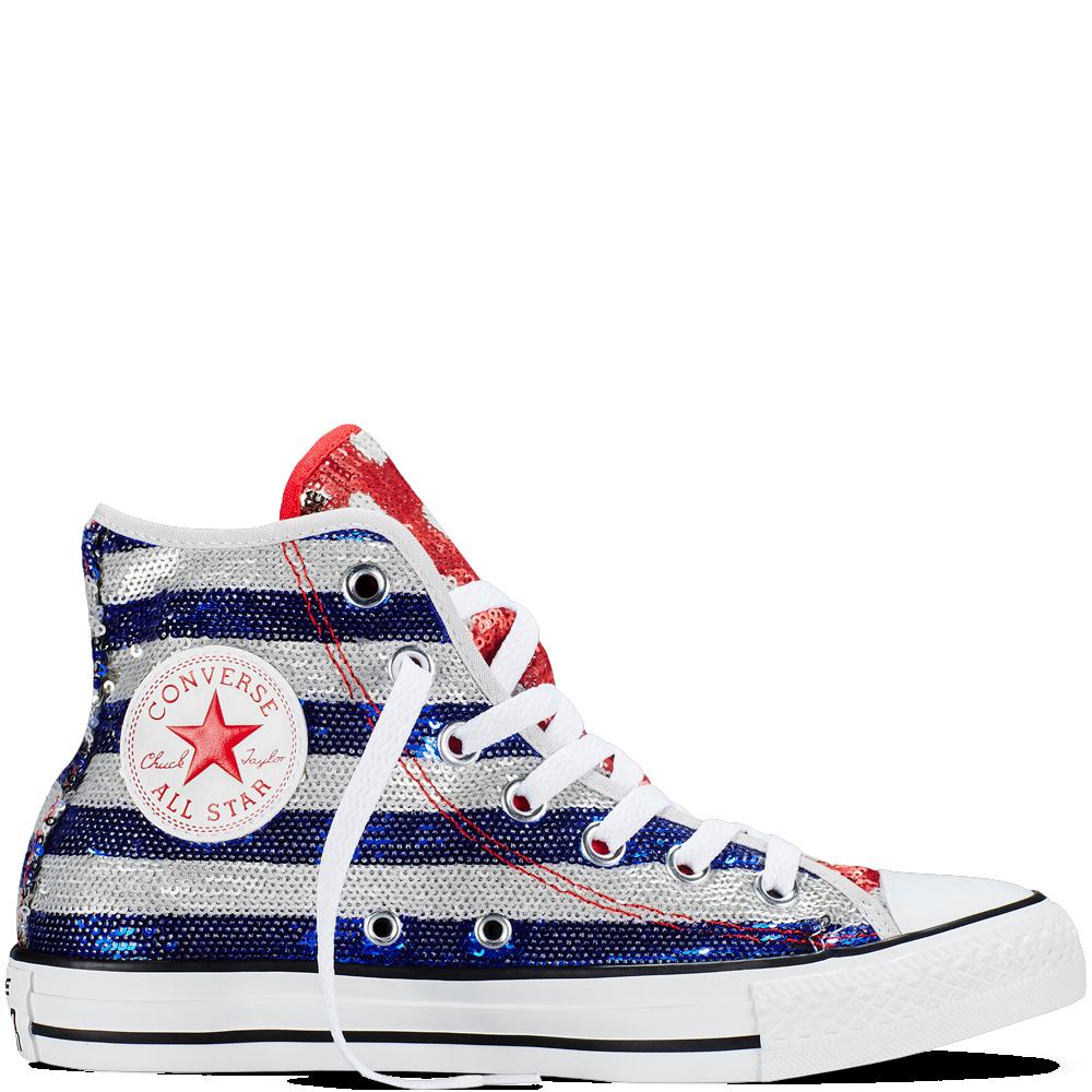 3b2458eab7cb Converse - Chuck Taylor All Star Americana Sequin - Silver Red Blue - Hi Top