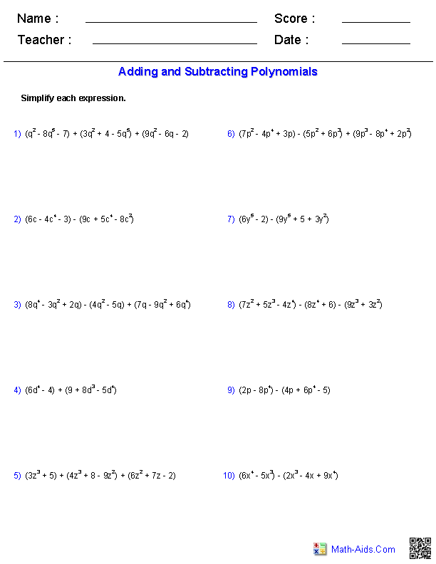 Adding And Subtracting Polynomials Worksheets