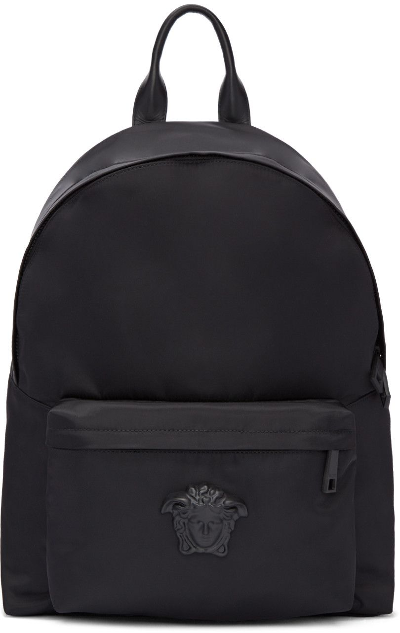 8cb47f1484 VERSACE Black Nylon Medusa Backpack. #versace #bags #leather #lining ...