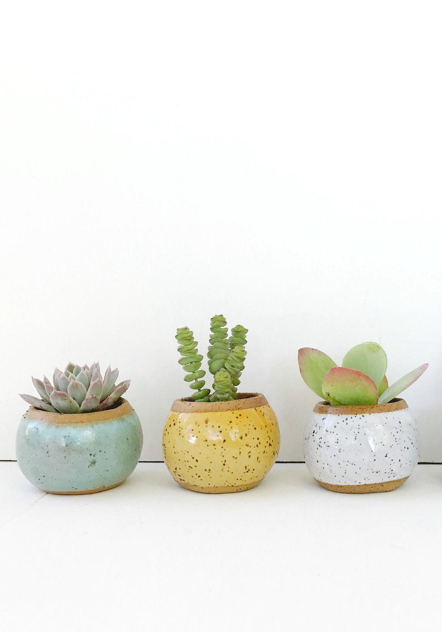 Handmade ceramic planters kristen saksa juen on etsy