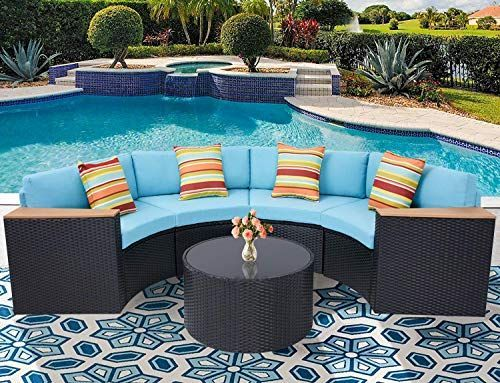 Oakmont Outdoor Sectional Sofa 5 Piece Half Moon Patio Furniture