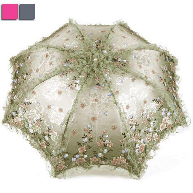 Embroidered Double-deck Parasol Sun//Rain//Snow Anti-UV 2 Folding Wedding Umbrella