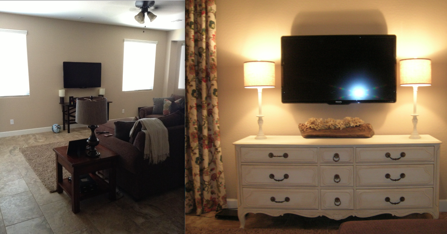 White rooms - Before/after TV wall in family room (painted & glazed estate sale dresser, painted garage sale lamps, curtains of long fabric clipped on rings)