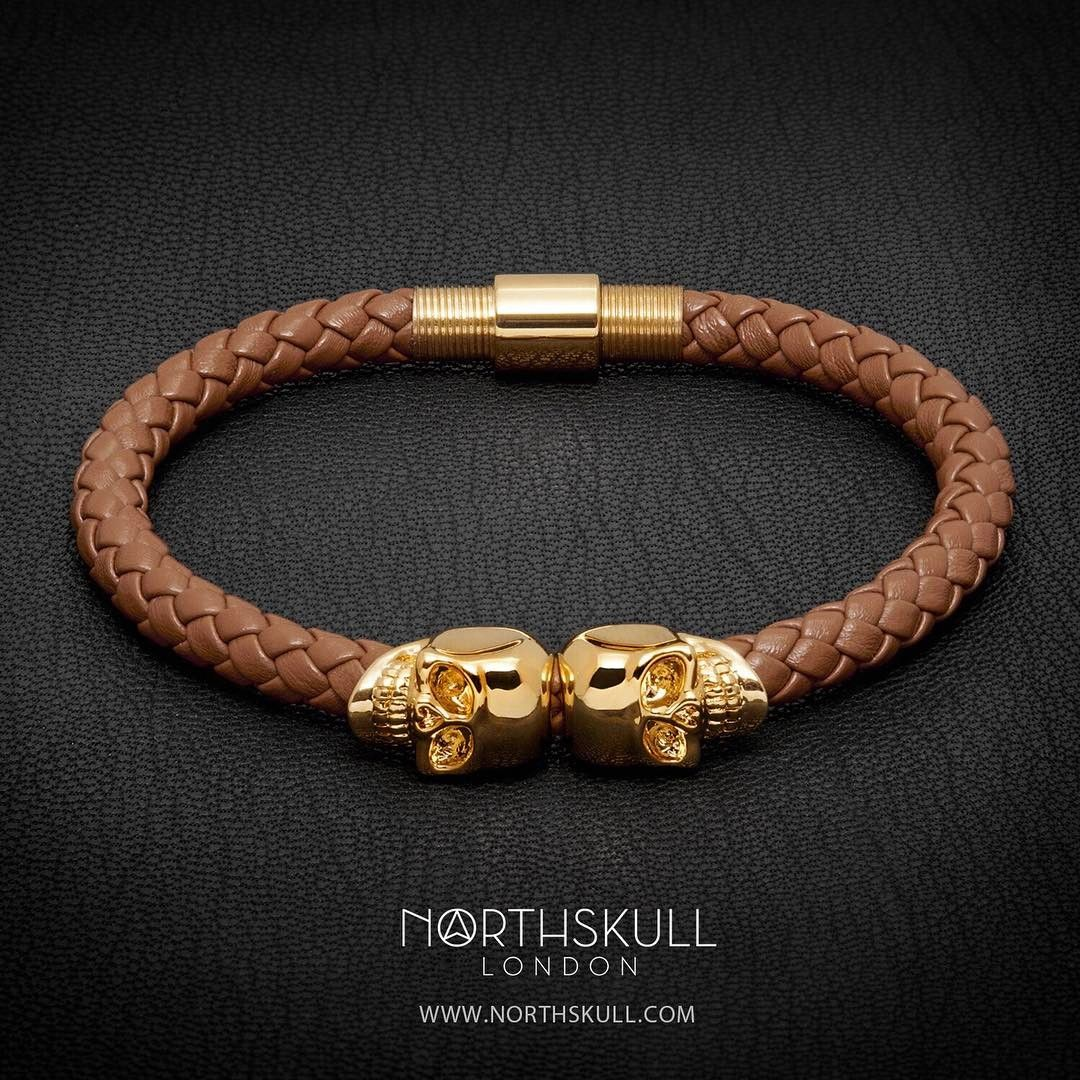 finish twin shop leather skull the twitter bracelet in north s gunmetal on status new co skulls luxury a northskull with t