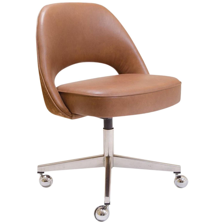 Saarinen for Knoll Executive Armless Chair in Saddle Leather