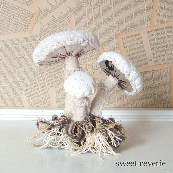 Woodland Vintage Textile Mushroom Fungi Cluster with by Sweet Reverie, $30.00
