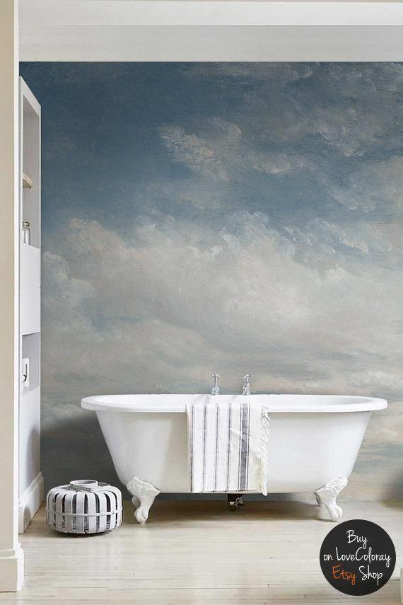 bleu clair assombri peinture murale ciel mur autocollant. Black Bedroom Furniture Sets. Home Design Ideas