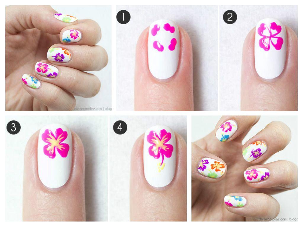 Nail art flores nail art diy e inspirações pinterest flower