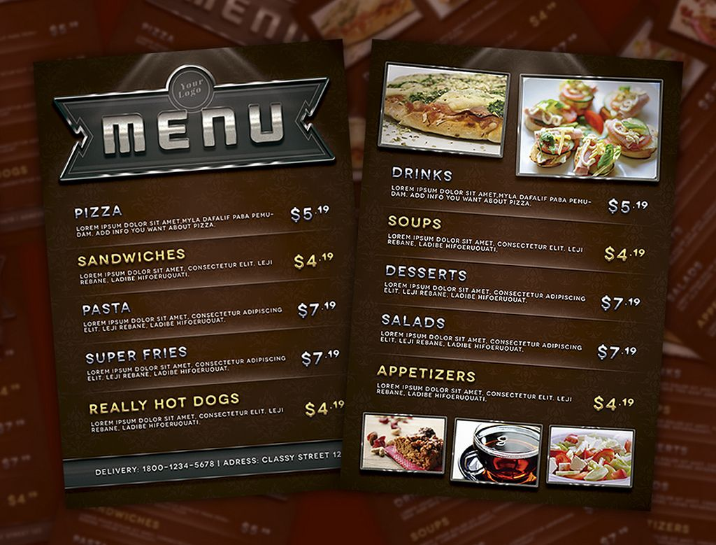 Restaurant menu design style template