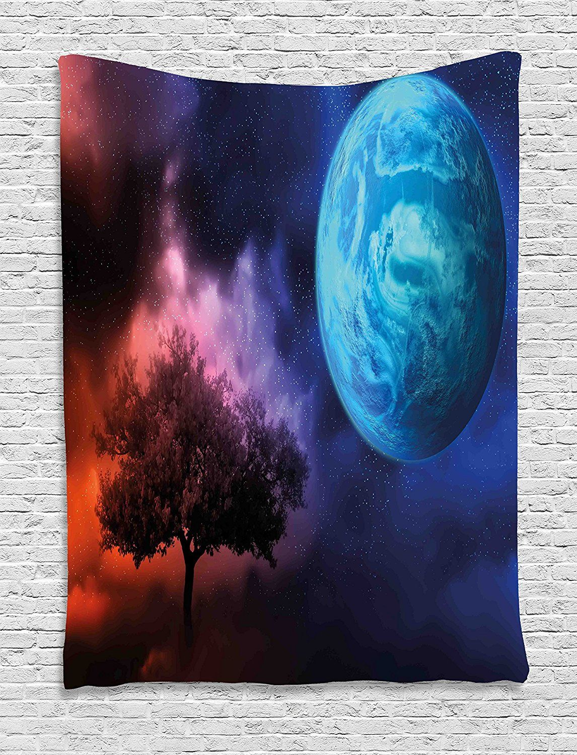 Space tapestry decor by ambesonne tree of life theme with moon