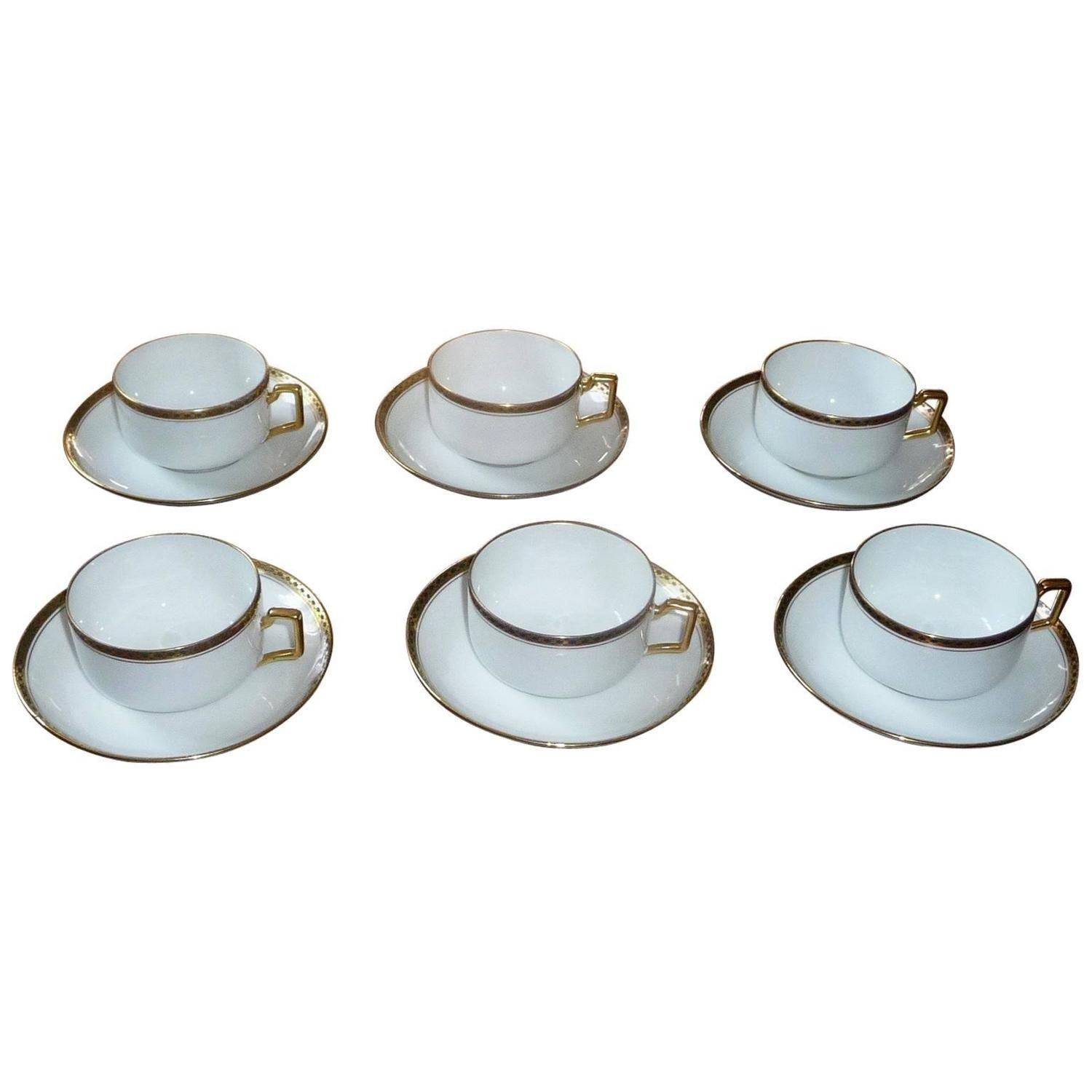 Fine Limoges Porcelain Coffee Service Set Of Six Cups By Legrand, France