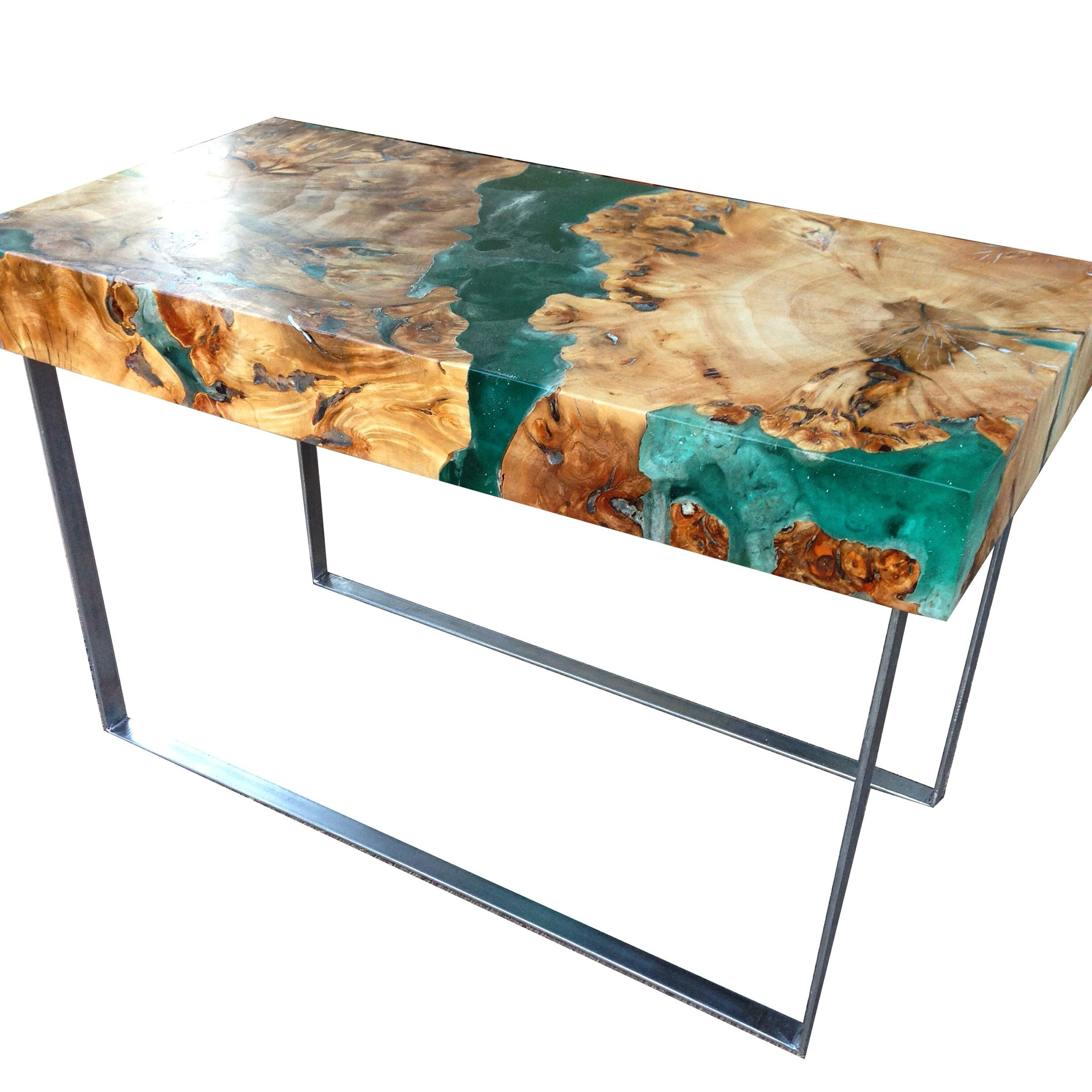 Resin and wood coffee table welded steel legs