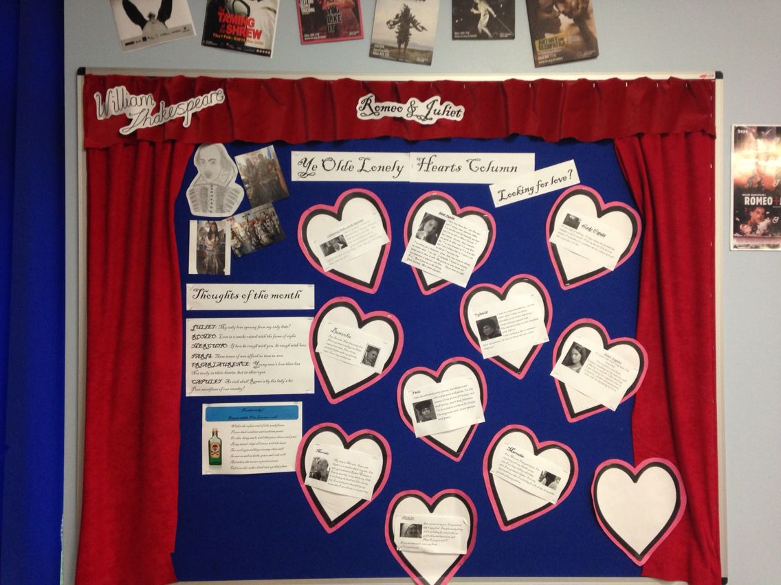 romeo and juliet lonely hearts teaching display education romeo and juliet lonely hearts teaching display
