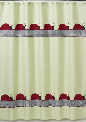 Ladybug Parade Green Black Red Kid Bath Fabric Shower Curtain Sweet Jojo Designs Ebay Fabric Shower Curtains Sweet Jojo Designs Peach Bedding