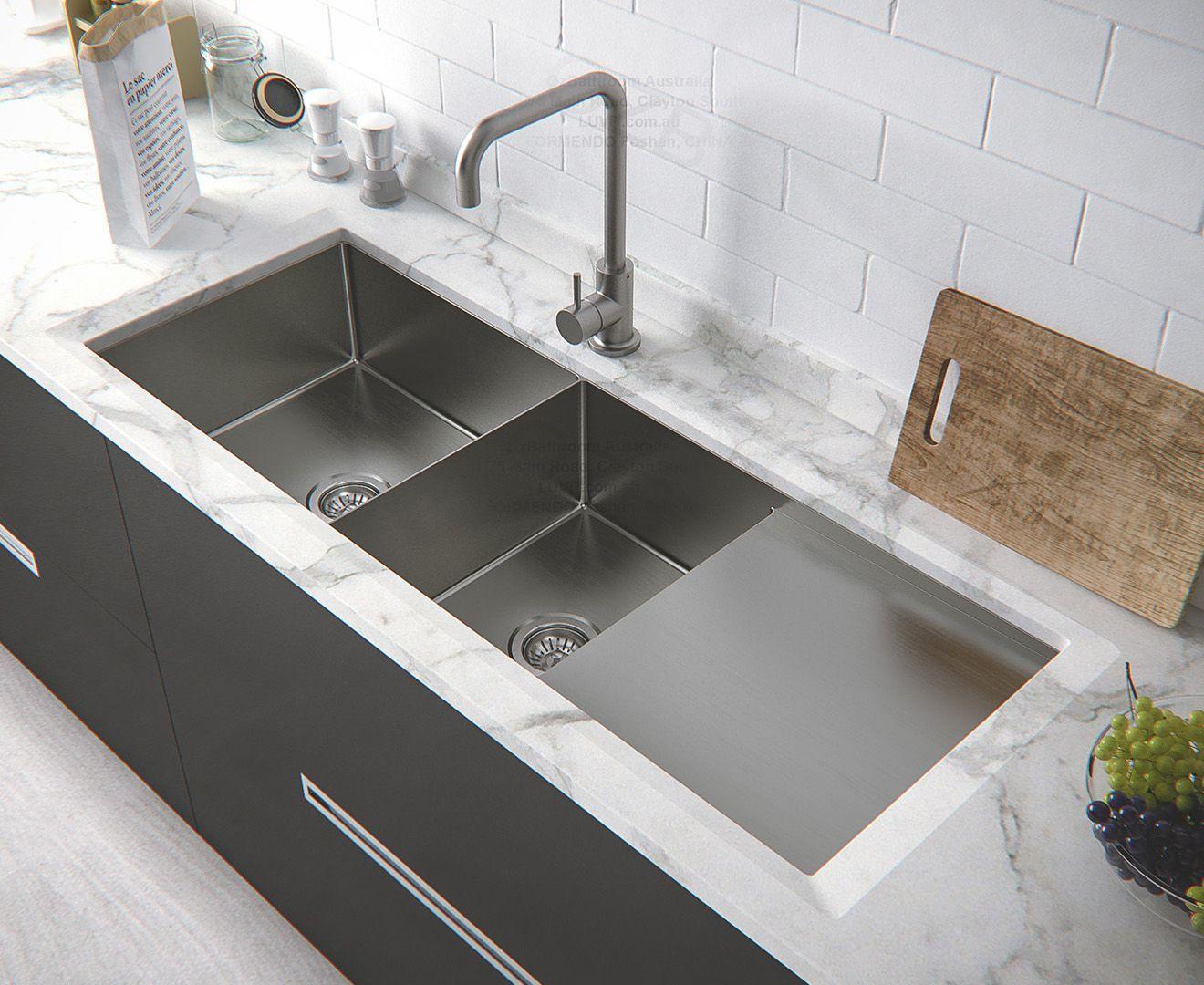 Fluso 120x45cm Double Bowl Kitchen Sink Drainer Board Doublekitchensink Kitchen Sink Design Double Bowl Kitchen Sink Best Kitchen Sinks