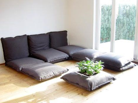 Make Your Own Large Floor Pillows : These cushions zip together. Wonder how hard it would be to make something like this. For the ...