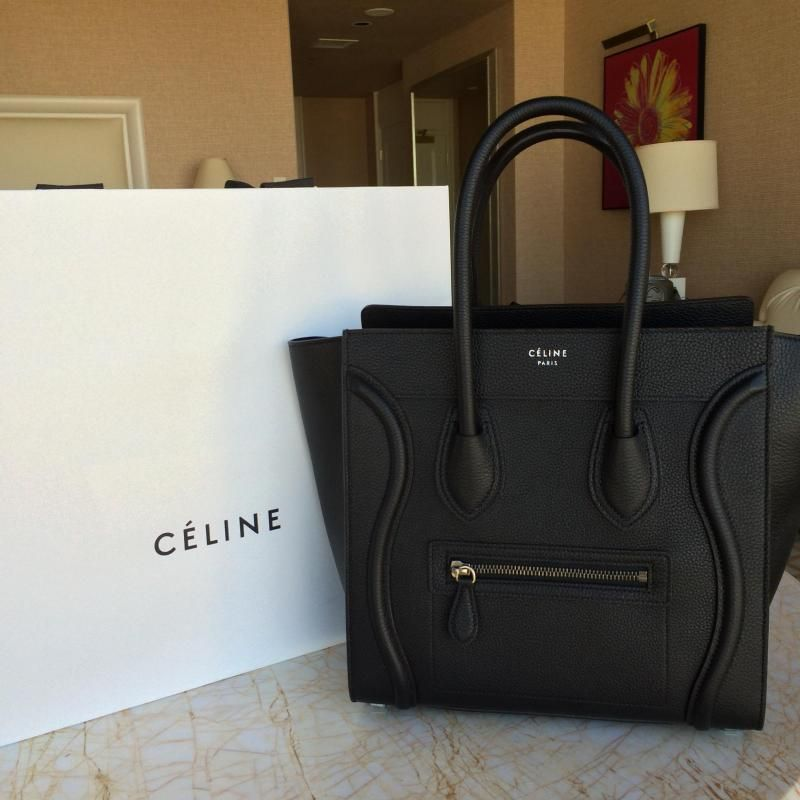 Perfect Celine Micro luggage in black drummed leather shw  d75e0b906c6dc
