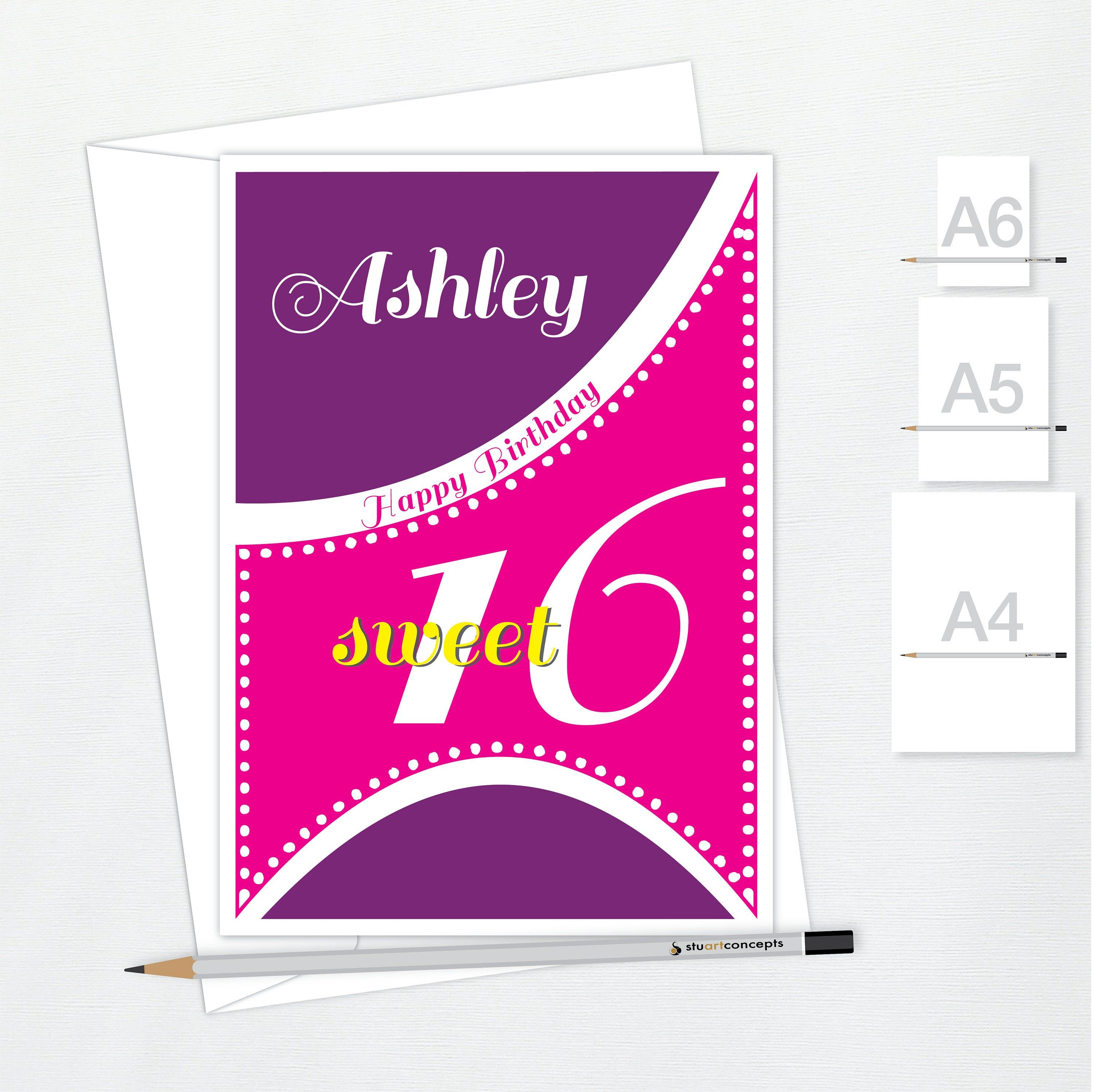 sweet 16 birthday card for girl edit name 16th happy
